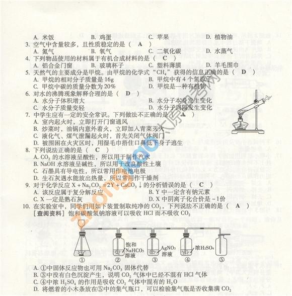 2013山西中考化学答案
