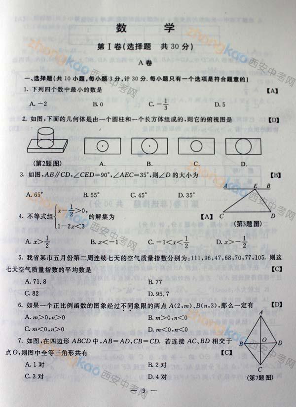 2013西安中考 中考真题 数学答案