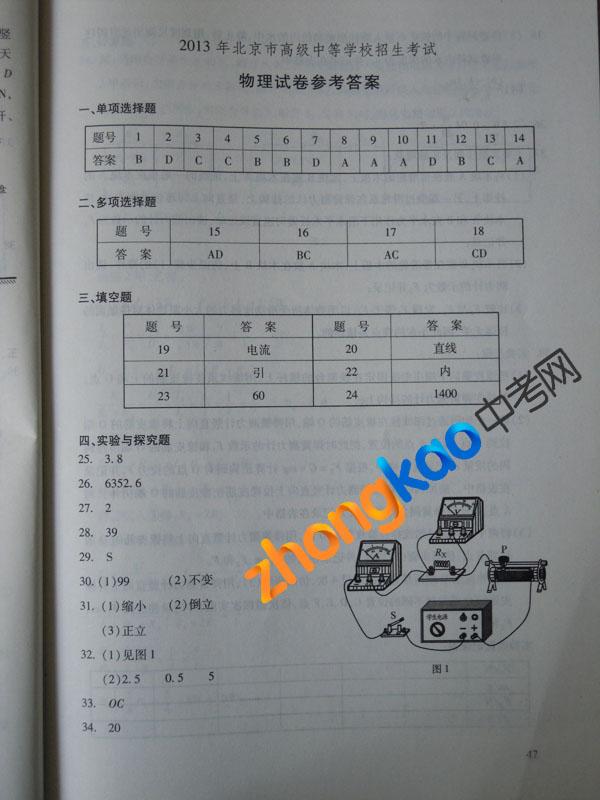2013北京中考物理试题答案(官方版)