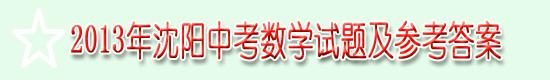 2013年沈阳中考数学试题及参考答案