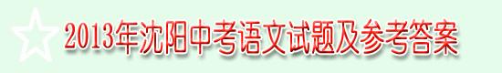 2013年沈阳中考语文试题及参考答案