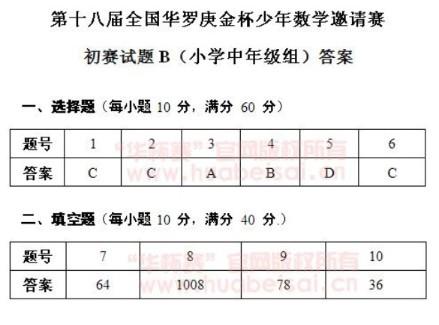 第十八届华杯赛初赛小学中年级组B卷试题答案