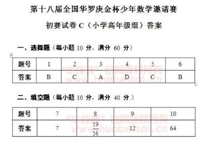 第十八届华杯赛初赛小学高年级组C卷试题答案