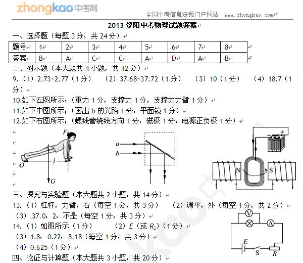 2013资阳中考物理试题答案