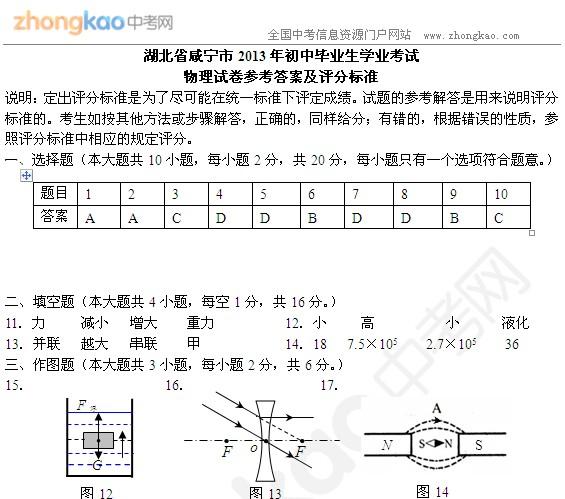 2013咸宁中考物理试题答案