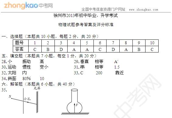 2013徐州中考物理试题答案