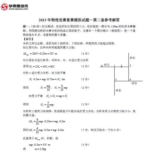 2013年物理竞赛复赛第二套模拟题答案