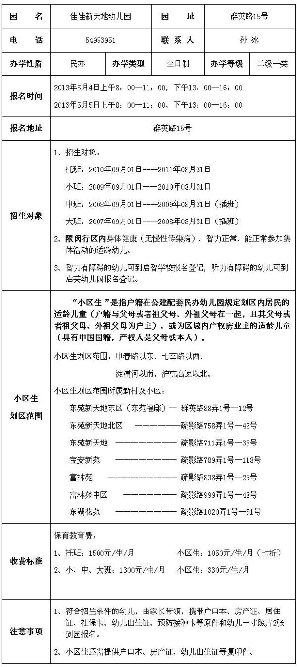 2013年闵行区佳佳新天地幼儿园招生简章
