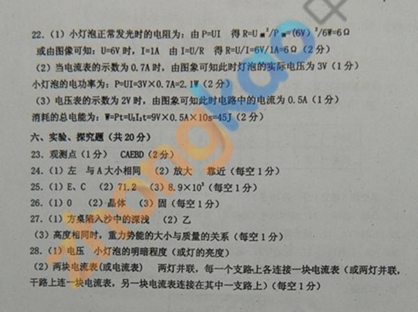 2013年沈阳中考二模物理试题参考答案(2)