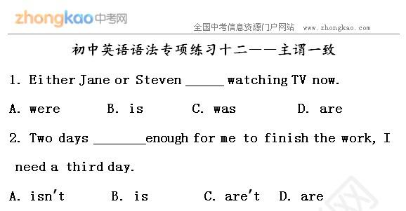 初中英语专项语法练习十二主谓a初中_中考网的初中十二生肖ppt知识图片