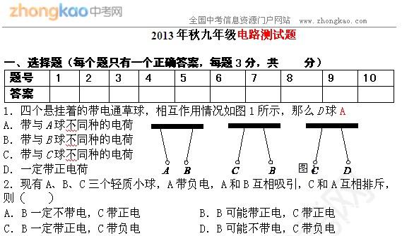 2013年秋九年级电路测试题