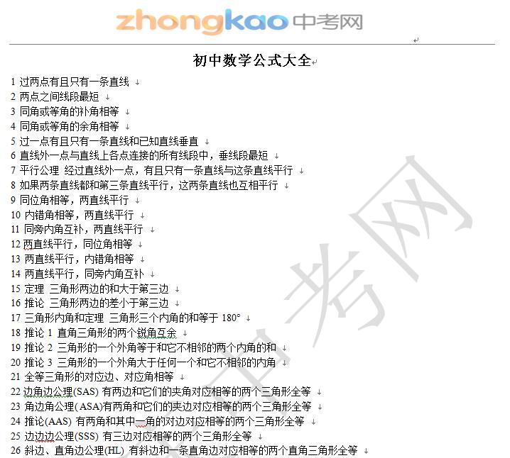 初中數學公式大全_中考復習_重慶中考網圖片