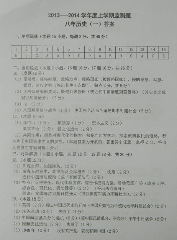 【人教版八年级上册历史期中考试质量分析】