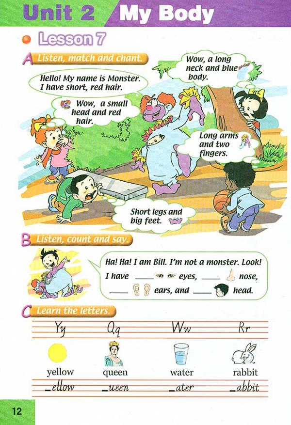 人教版新起点三年级英语课本上册 unit2 my body