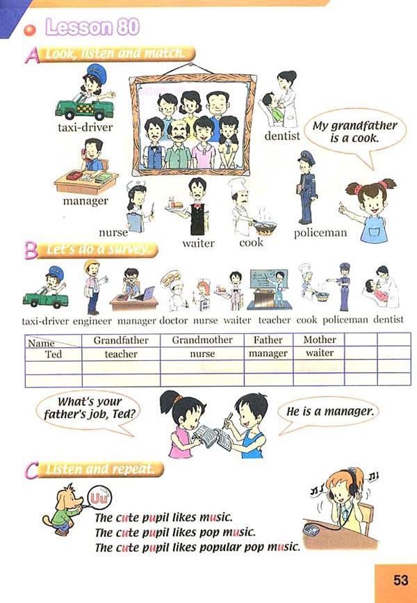 人教版新起点三年级英语课本下册 unit14 my family高清图片