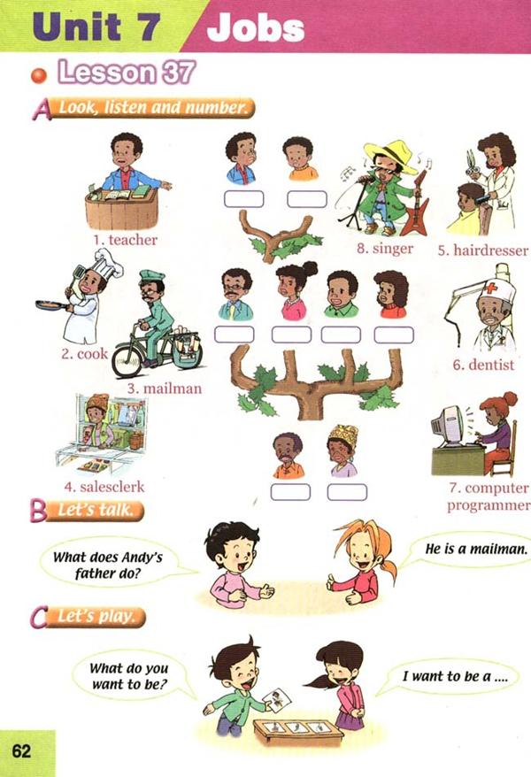 人教版新起点四年级英语课本上册 unit7 jobs高清图片