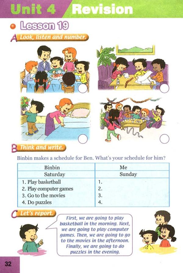 人教版新起点四年级英语课本上册 Unit4 revision图片