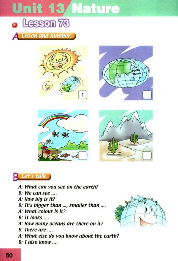 英语 六年级/人教版新起点六年级英语课本下册:Unit13 nature