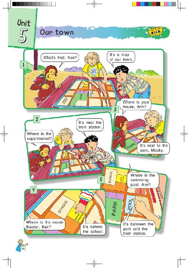 北师大版小学英语四年级英语课本上册:unit5 our town高清图片