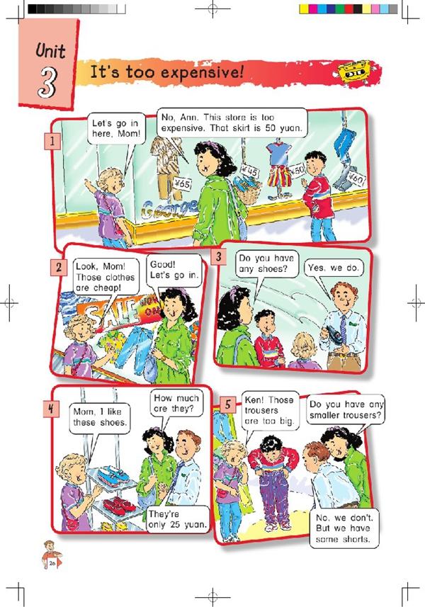 北师大版小学英语四年级英语课本上册:unit3 itrs too 高清图片
