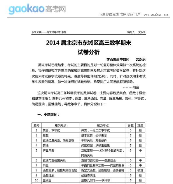 2014届北京市东城区高三成语(理)期末分析数学考试易错初中大全试卷图片
