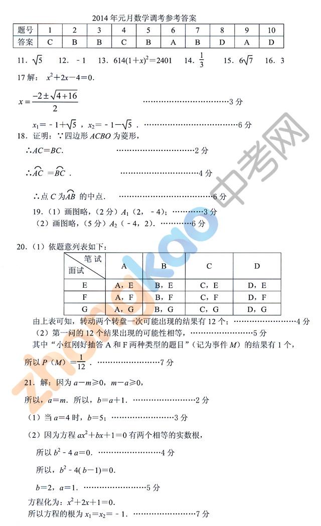 2014武汉元月调考数学试题答案