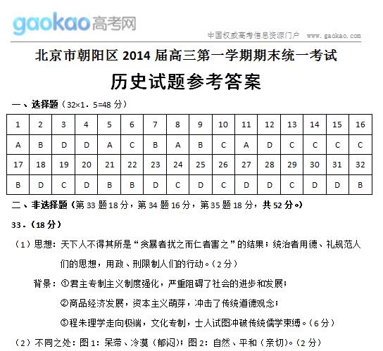 2014北京朝阳区高三上学期期末历史试题答案
