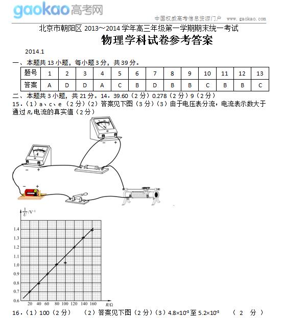 2014北京朝阳区高三上学期期末物理试题答案