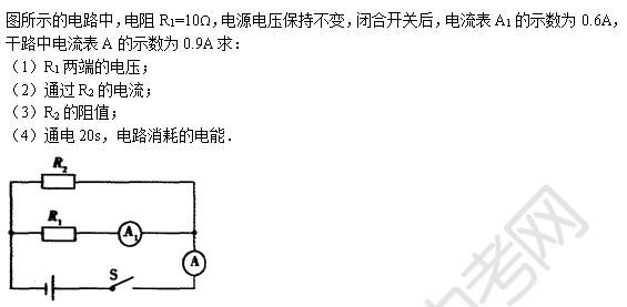 中考物理天天练试题及解析:并联电路(8月18日)