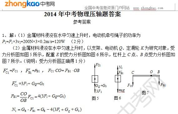 2014中考物理压轴题参考答案