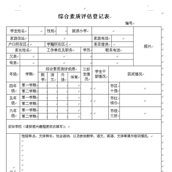 2014武汉小升初简历