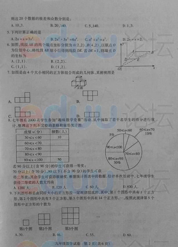 2014年武汉四月调考数学试题