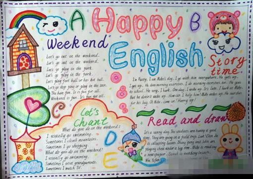 小学五年级英语手抄报:happy
