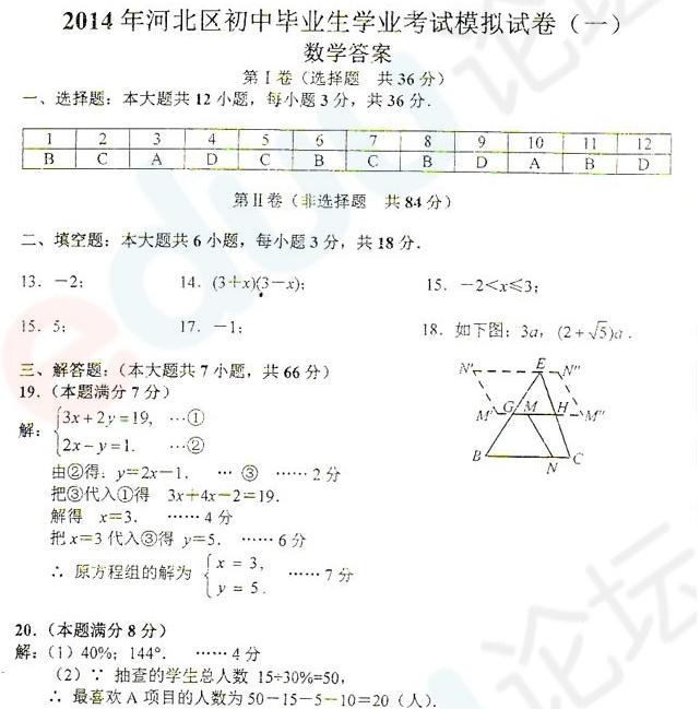 2014年天津河北区中考一模数学试题答案