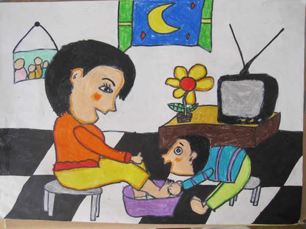 母亲节英语作文:为母亲洗脚