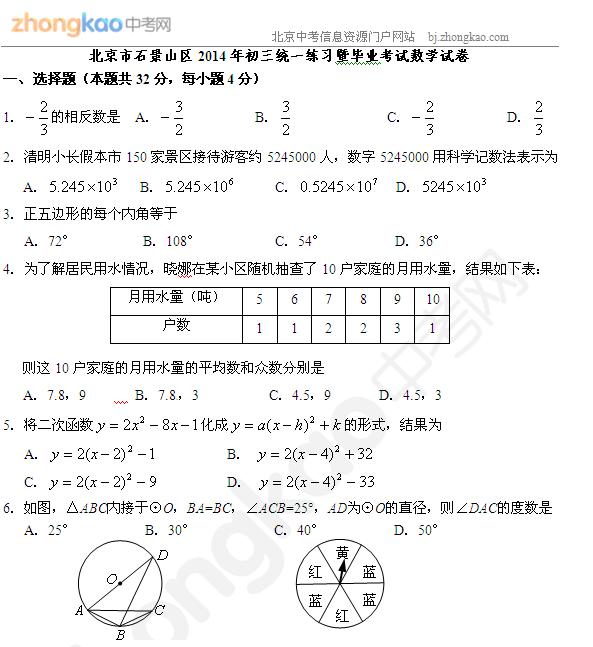 2014石景山一模数学试题