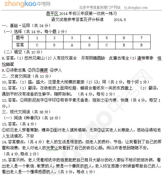 2014北京昌平中考一模语文试题答案