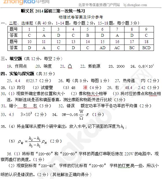 2014北京顺义区中考一模物理试题答案(word版)