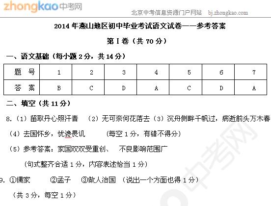 2014北京燕山中考一模语文试题答案