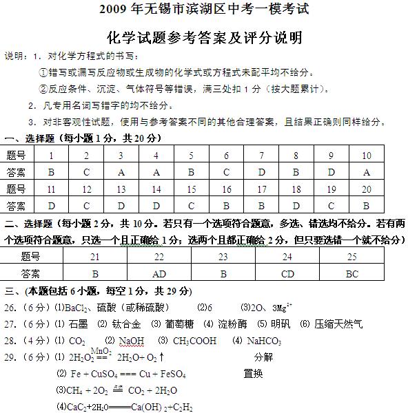 2009无锡滨湖区中考化学一模试题答案(word)