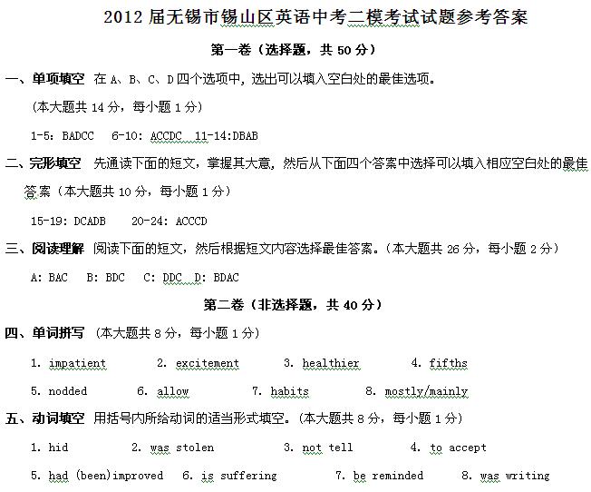 2012年无锡市锡山区中考英语二模试题答案(word)