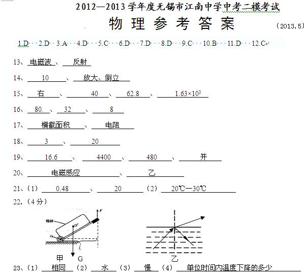 2013年无锡市江南中学中考二模物理试题答案(word)