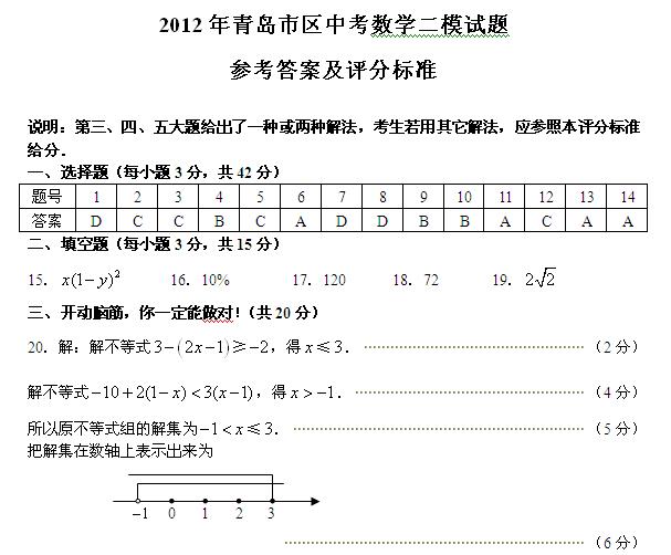 2012年青岛市区中考数学二模试题答案(word)