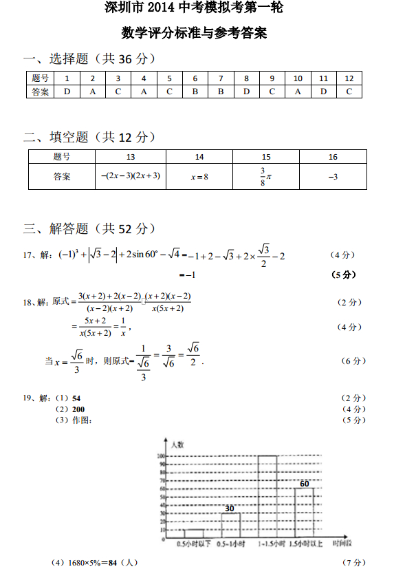 2014深圳中考一模数学试题及答案(图片版)