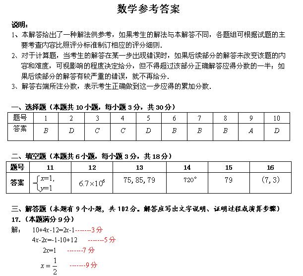 2014年广州市天河区中考一模数学试题答案