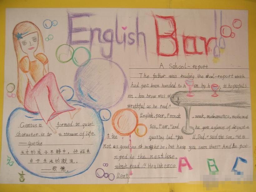 小学六年级英语手抄报:english