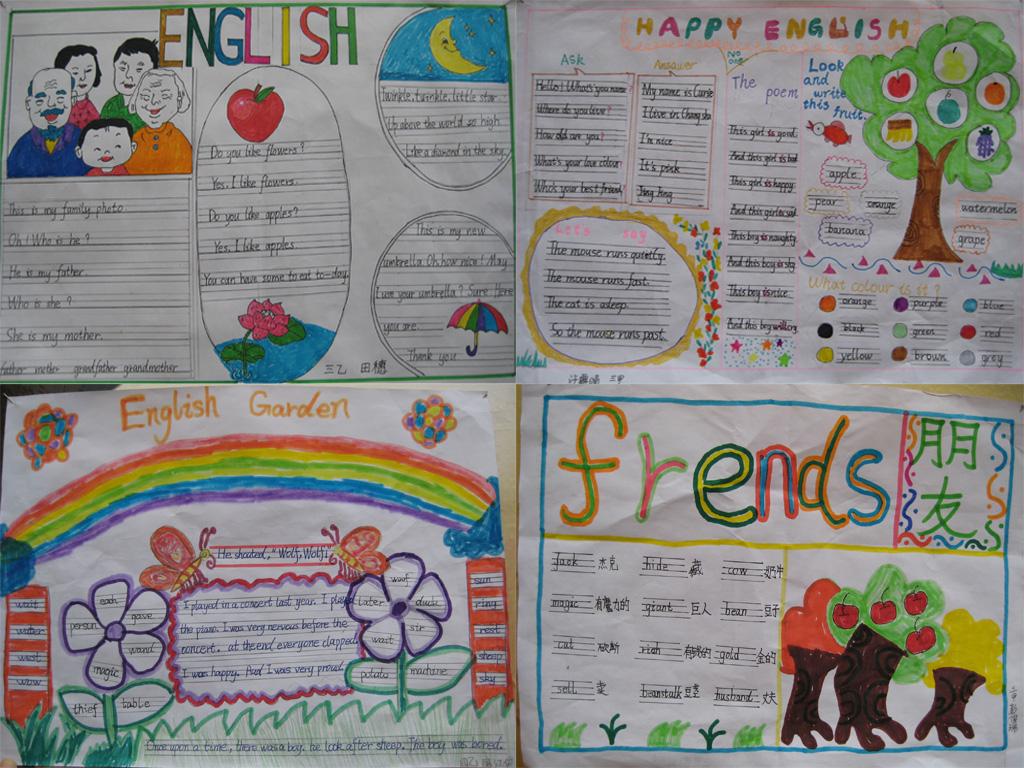 小学四年级英语手抄报:english四张合集