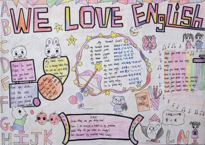 小学四年级英语手抄报 We Love English