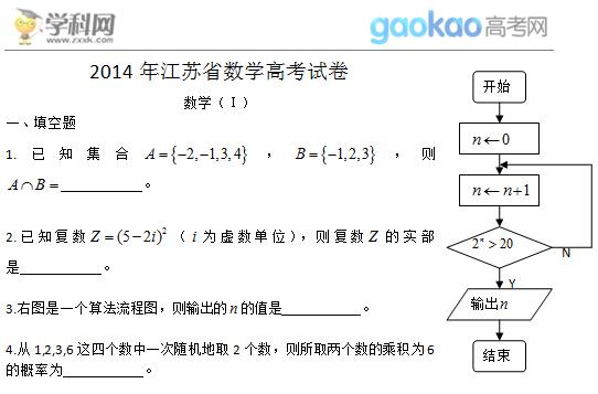 2014年江苏高考数学试题