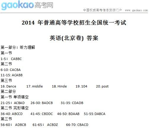 2014年北京高考英语试题及答案